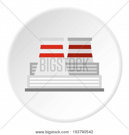 Nuclear power plant icon in flat circle isolated vector illustration for web