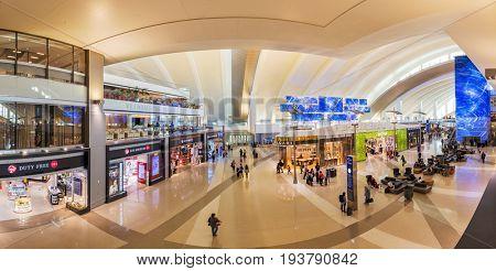 LOS ANGELES, CALIFORNIA, US - Jun 17 2017: Tom Bradley International Airport departure terminal duty free shops in Los Angeles, US