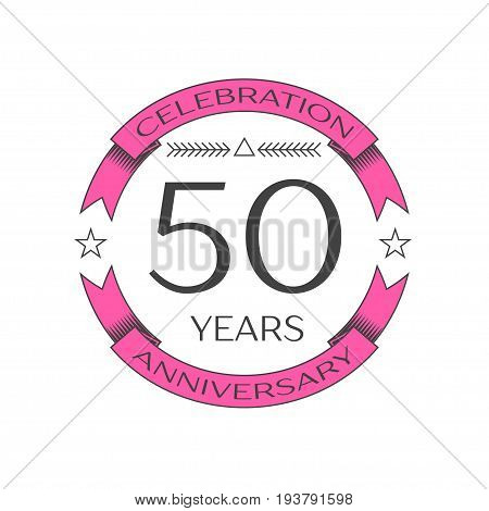 Realistic fifty years anniversary celebration logo with ring and ribbon on white background. Vector template for your design