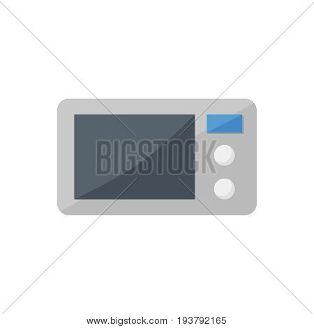 Flat microwave icon. Vector illustration isolated on a white background. Simple color pictogram of microwave.