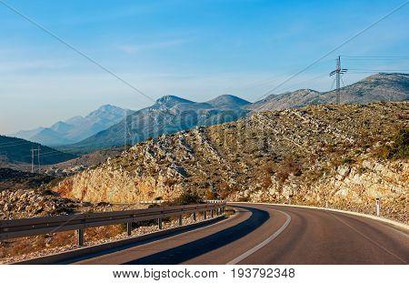 Road between Trebinje city ( Bosnia and Herzegovina) and Herceg Novi city (Montenegro)