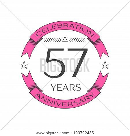 Realistic fifty seven years anniversary celebration logo with ring and ribbon on white background. Vector template for your design