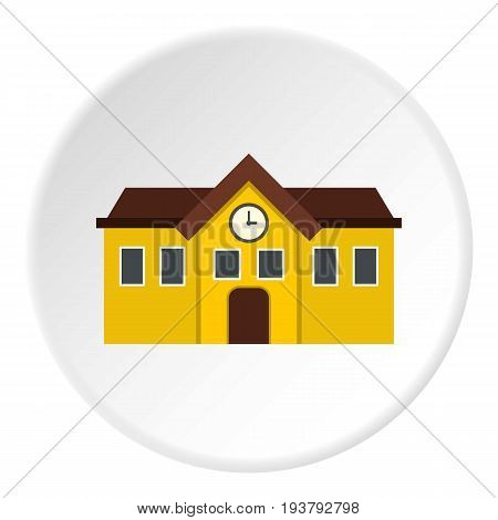 Chapel icon in flat circle isolated vector illustration for web
