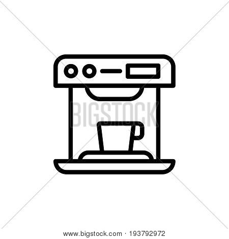 Thin line coffee machine icon. Vector illustration isolated on a white background. Simple outline pictogram of coffee machine.