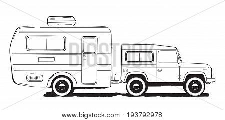 Camping caravan. Motorhome, amper car with trailer. Black and white hand drawn illustration