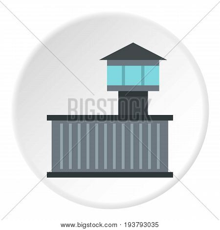 Prison tower icon in flat circle isolated vector illustration for web