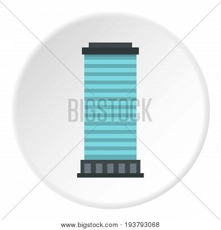 Column icon in flat circle isolated vector illustration for web