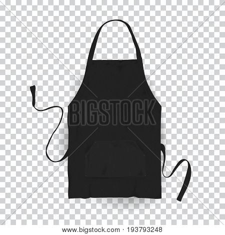 Realistic black kitchen apron. Vector illustration on transparent background