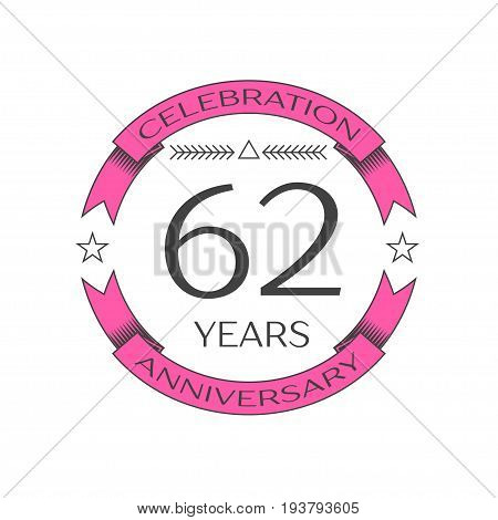 Realistic sixty two, years anniversary celebration logo with ring and ribbon on white background. Vector template for your design