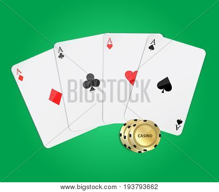 Playing plastic cards for playing poker in the casino. Casino poker design template. Ace set vector . Spade ace. Diamonds Ace.