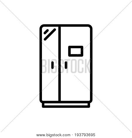 Thin line refrigerator icon. Vector illustration isolated on a white background. Simple outline pictogram of refrigerator.