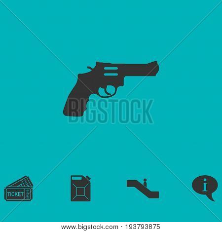 Revolver icon flat. Simple vector symbol and bonus icon