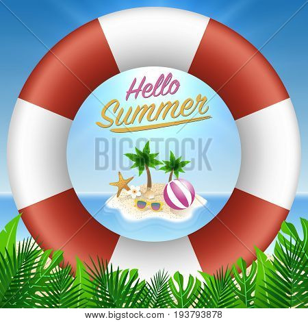 Hello summer background. Beach island background with sunglasses straw hat and lifebuoy. Design for invitation card voucher discount backdrop and template design. Vector illustration.