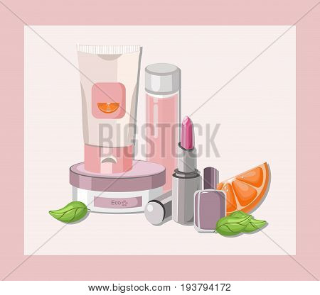 Vector Cosmetics set package. Hydration cream and lotion, shampoo, nail polish, lip balm. Perfect for advertising, flyer, banner, poster. 2d illustrations