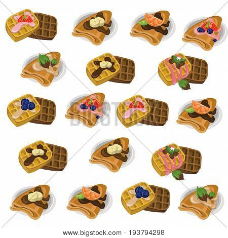 Pancakes and waffle set chocolate syrop and banana and fruits flavor Vector icon template retro style dotted backgrounds