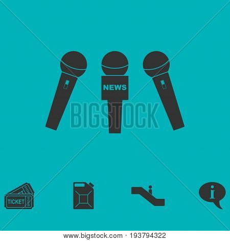 News microphone icon flat. Simple vector symbol and bonus icon
