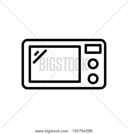 Thin line microwave icon. Vector illustration isolated on a white background. Simple outline pictogram of microwave.