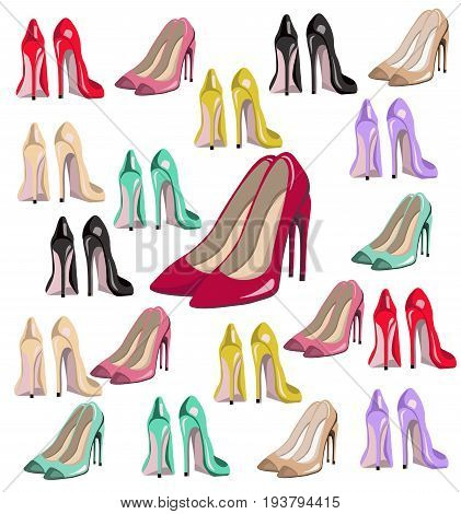 sexy lady shoes pumps vector set colorful, summer style