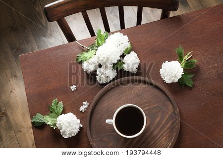 Morning cup of black coffee with flowers of viburnum in cafe. View from above.