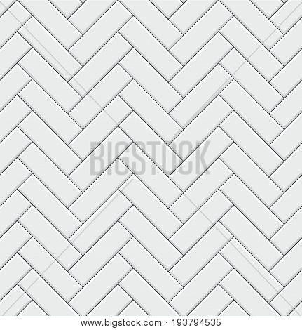 Seamless pattern with modern rectangular herringbone white tiles. Realistic diagonal texture. Vector illustration