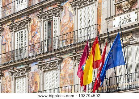 Detail of the facade of Casa de la Panaderia ( Bakery House ) Plaza Mayor Madrid Spain