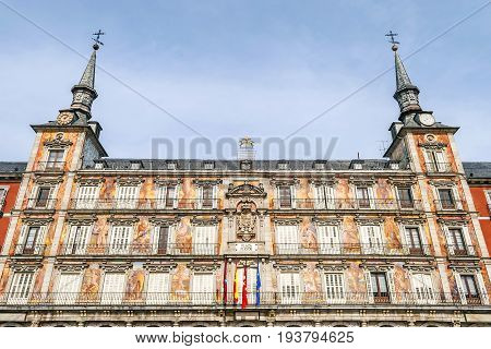 Frontal view of the Casa de la Panaderia on Plaza Mayor in Madrid Spain.