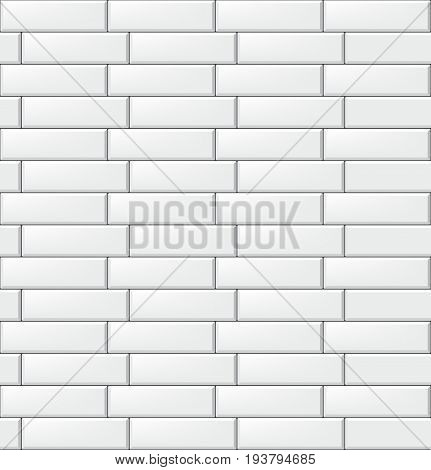 Seamless pattern with modern rectangular white tiles. Realistic horizontal texture. Vector illustration