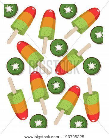 Colorful fruit icecream kiwi flavor summer treat Vector illustration