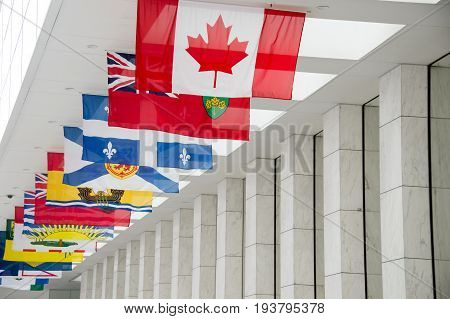 Picture Of The Canadian Flag Along With The Flags Of The 10 Canadian Provinces And The 3 Canadian Te