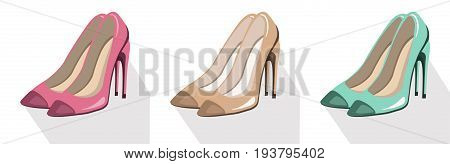sexy lady shoes pumps vector set colorful, summer style elegant