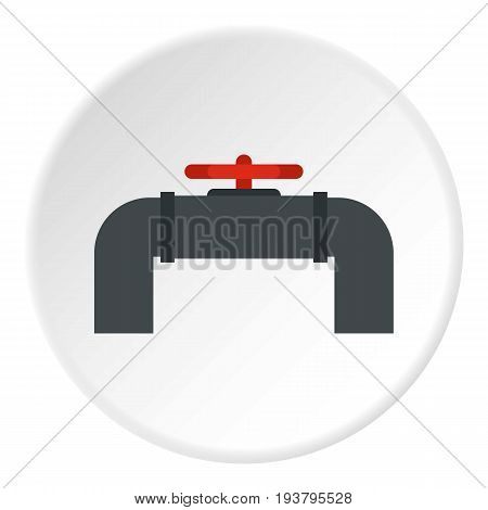 Pipeline with valve and handwheel icon in flat circle isolated vector illustration for web