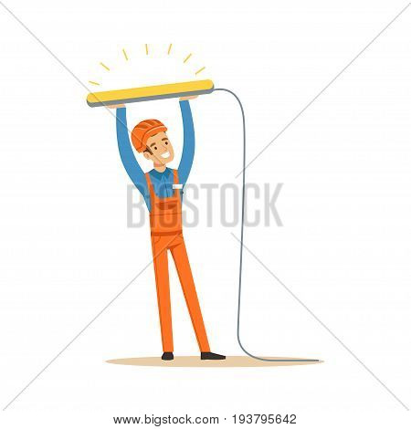 Smiling electrician in uniform installing fluorescent lamp, electric man performing electrical works vector Illustration isolated on a white background
