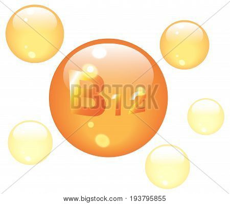 Vitamin B12 shining pill capsules icon . Vitamin complex with Chemical formula, group B, Cyanocobalamin, hydroxocobalamin. Vector isolated