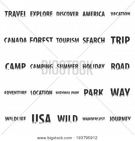 Set Of Travel Labels With Silhouette Of Forest.