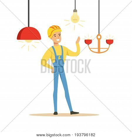 Smiling electrician in uniform installing chandeliers, electric man performing electrical works vector Illustration isolated on a white background