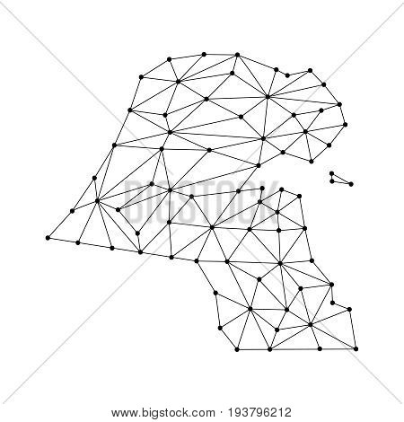 Kuwait map of polygonal mosaic lines network rays and dots vector illustration.