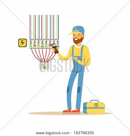 Electrician testing electrical equipment, measuring the voltage output, electric man performing electrical works vector Illustration isolated on a white background