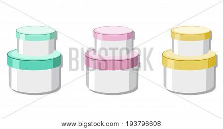 Vector Cosmetics set package. Hydration cream and lotion. Perfect for advertising, flyer, banner, poster. 2d illustrations