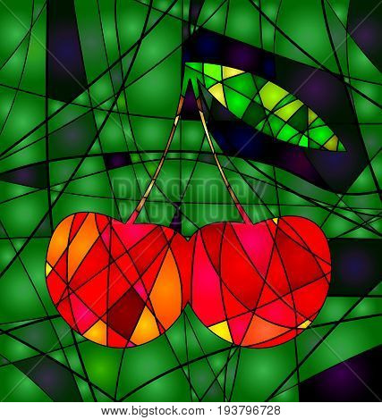 background variation vwth abstract image of colored cherry consisting of lines
