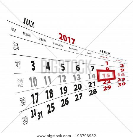 15 July Highlighted On Calendar 2017. Week Starts From Monday.
