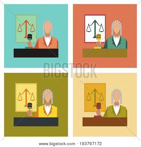 assembly flat icons education law jurisdiction judge