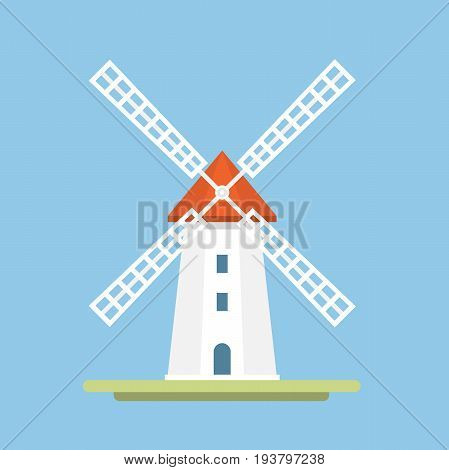 A traditional windmill on a blue background. Icon. Symbol of agriculture. Vector Flat Illustration
