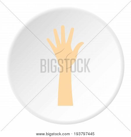 Hand showing five fingers icon in flat circle isolated vector illustration for web
