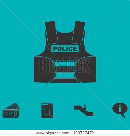 Bullet proof vest body armor suit icon flat. Simple vector symbol and bonus icon
