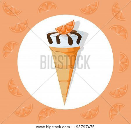Icecream cones delicious icon flat style. Vector illustration