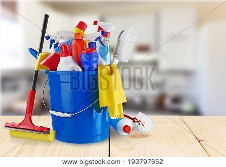 Plastic gloves clean bottles sponge green yellow
