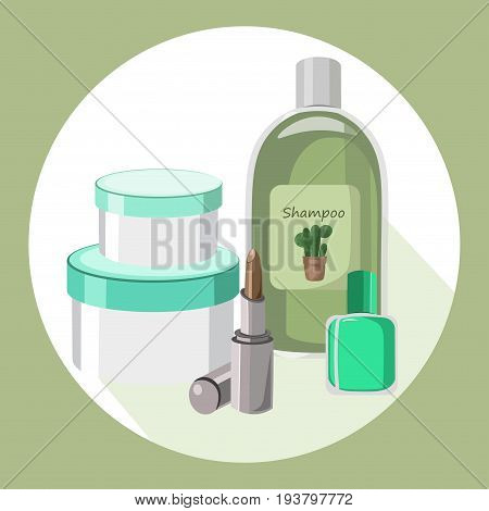 Cosmetics set package. Hydration cream and lotion, shampoo, nail polish, lip balm. Vector illustration