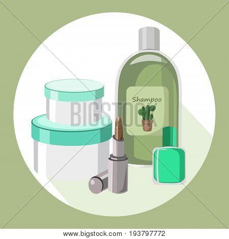 Cosmetics set package. Hydration cream and lotion, shampoo, nail polish, lip balm. Vector illustration poster