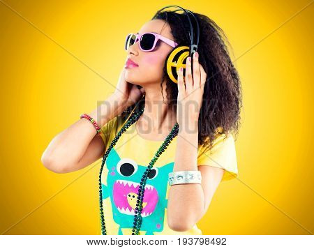 Girl african headphones fashion model youth culture teenage girl disco dancing