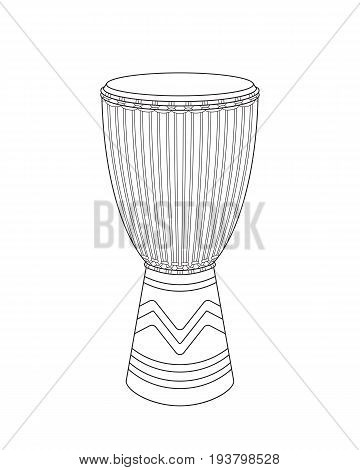 Vector realistic outline djembe sketch on a white background